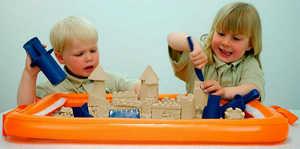 кинетический песок, дети, игра